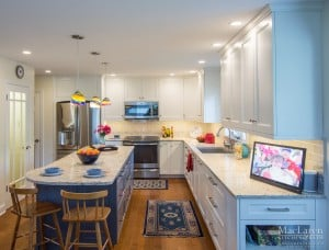 Quartz Island End Seating for Eclectic West Chester Kitchen